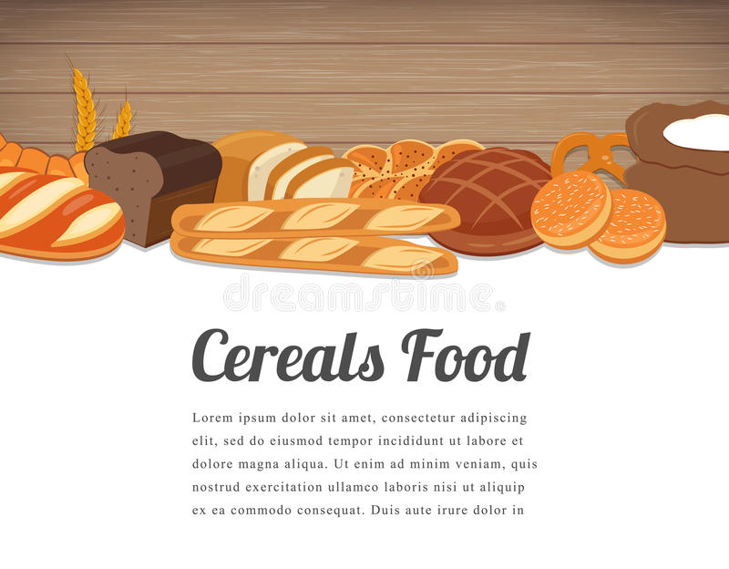 Cereals food card design. Food background with colorful cereals and grains. Natural food concept. Vector. Illustration vector illustration