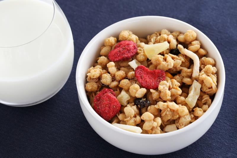 cereals fruit granola breakfast on table royalty free stock photos