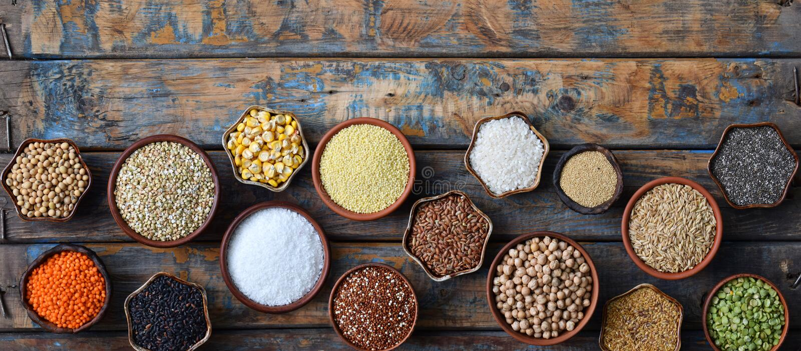Cereals, grains, beans and seeds. Gluten-free concept. Healthy food. Top view. Copy space royalty free stock photos
