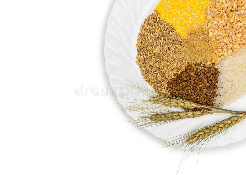 Cereals - maize ,wheat, buckwheat, millet, rye, rice and peas royalty free stock images