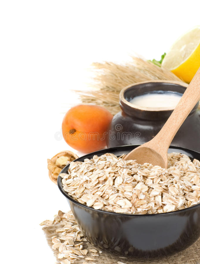 Free Cereals Oat Flake Plate On White Stock Photos - 20588073