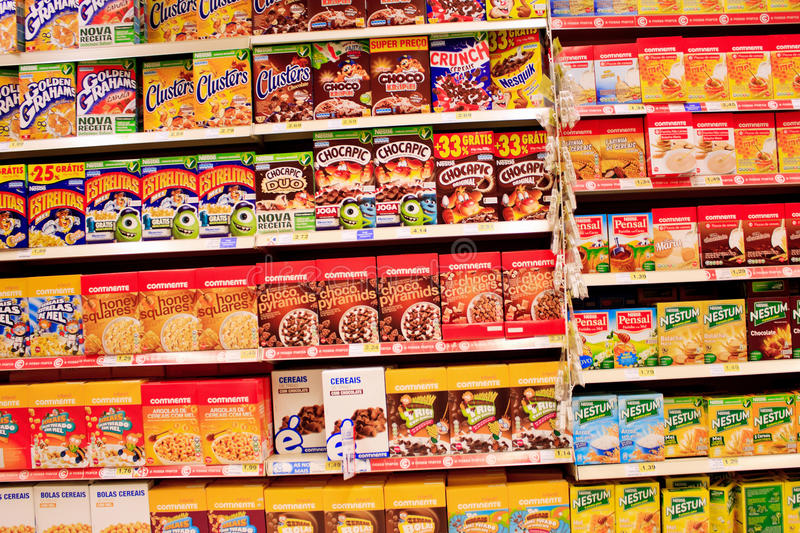Cereals. A view from a wide selection of packaged cereals at the supermarket royalty free stock image