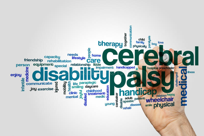 Cerebral palsy word cloud concept. Cerebral palsy word cloud on grey background royalty free stock photography