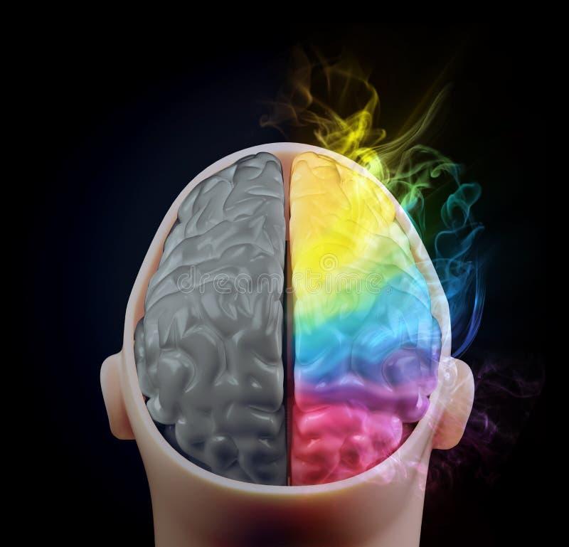 Cerebralt halvklotbegrepp för kreativitet stock illustrationer