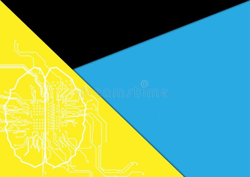 Cerebro abstracto con el circuito y el fondo de la forma ejemplo v ilustración del vector