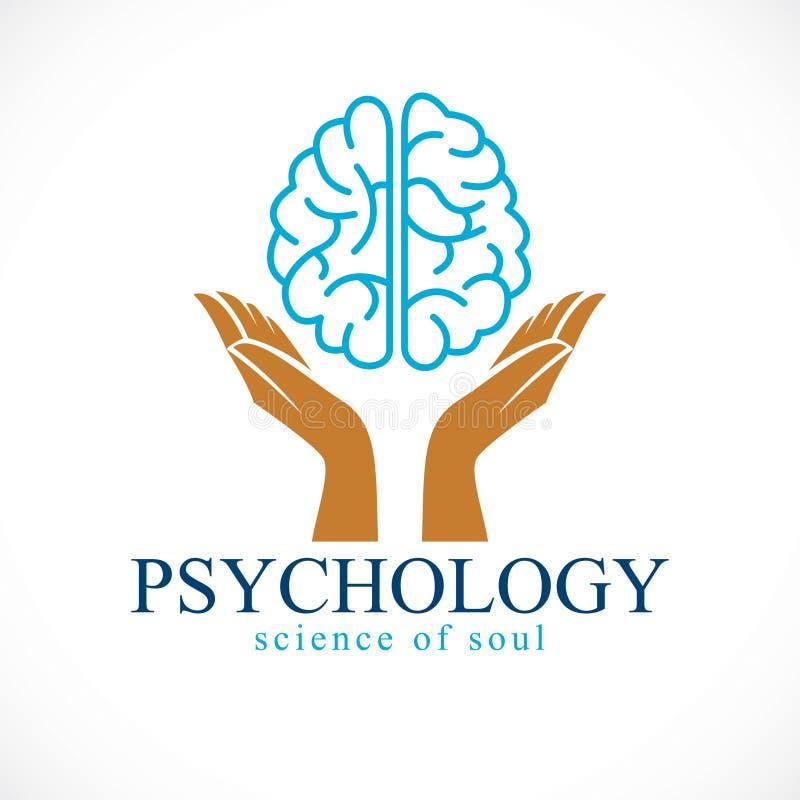 Cerebro anatómico humano con la oferta que guarda las manos, salud mental stock de ilustración