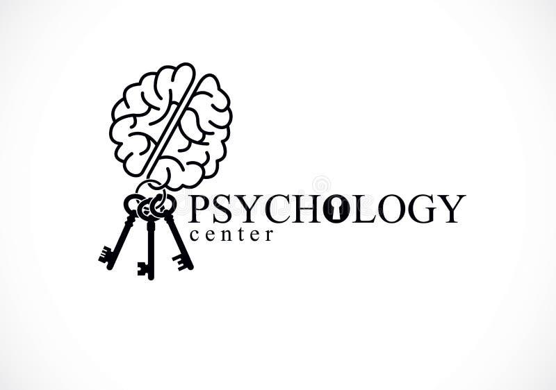 Cerebro anatómico humano con llaves como llavero, logotipo o icono conceptual de la psicología de la salud mental, psicoanálisis  stock de ilustración