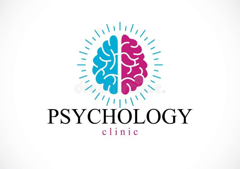 Cerebro anatómico humano, logotipo conceptual de la psicología de la salud mental stock de ilustración