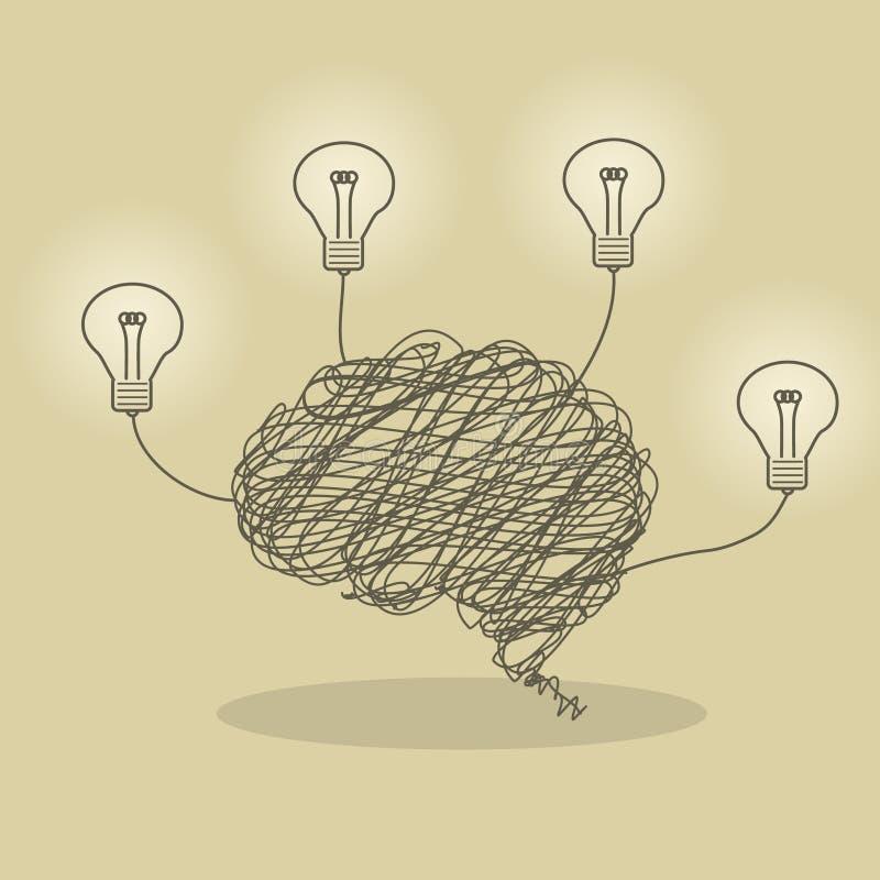 Cerebro brillante stock de ilustración