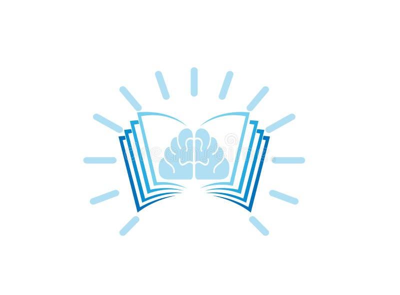 Cerebro brillante en el libro para el ejemplo del diseño del logotipo, icono ligero de la educación, símbolo del éxito de la ment libre illustration