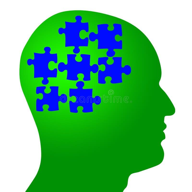 Cerebro como pedazos del rompecabezas en cabeza ilustración del vector