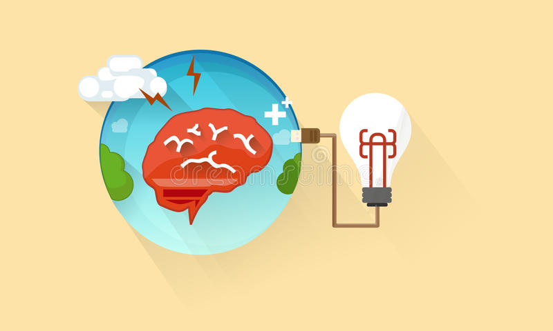 Cerebro con la bombilla - icono plano fotos de archivo libres de regalías
