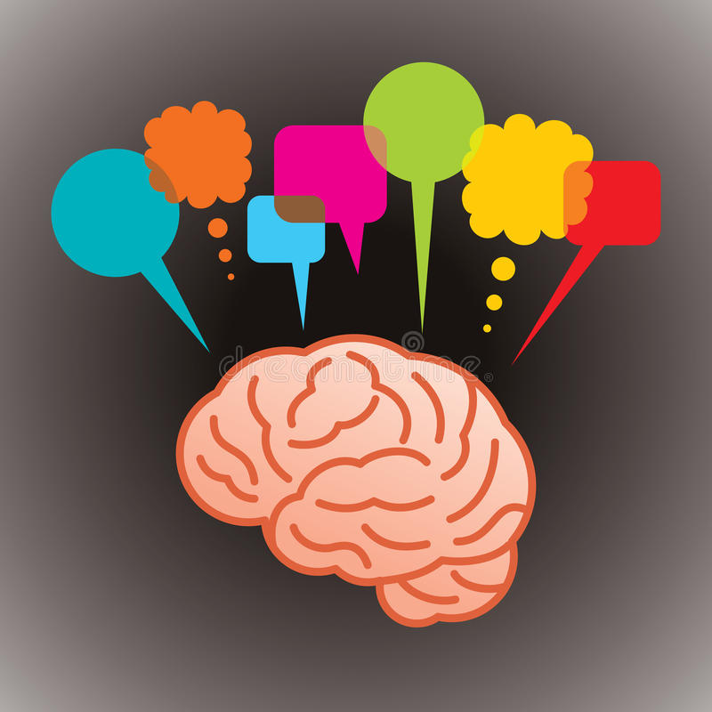 Cerebro con la burbuja del discurso ilustración del vector
