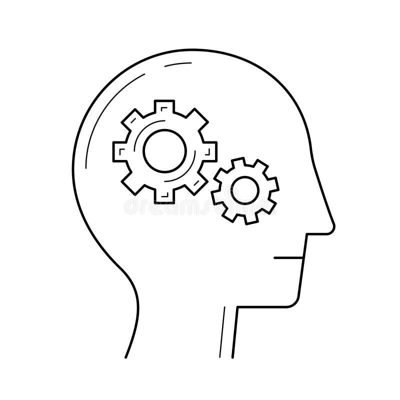 Cerebro con la línea icono del engranaje libre illustration
