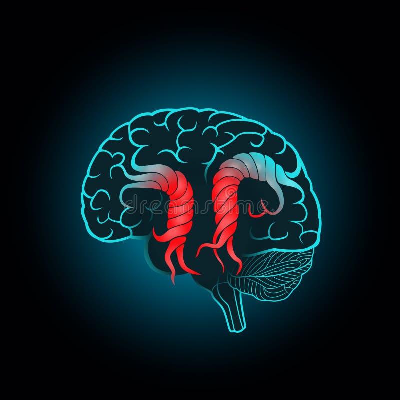 Cerebro con las circunvoluciones torcidas, de la destrucción del cerebro, movimiento, memoria ilustración del vector