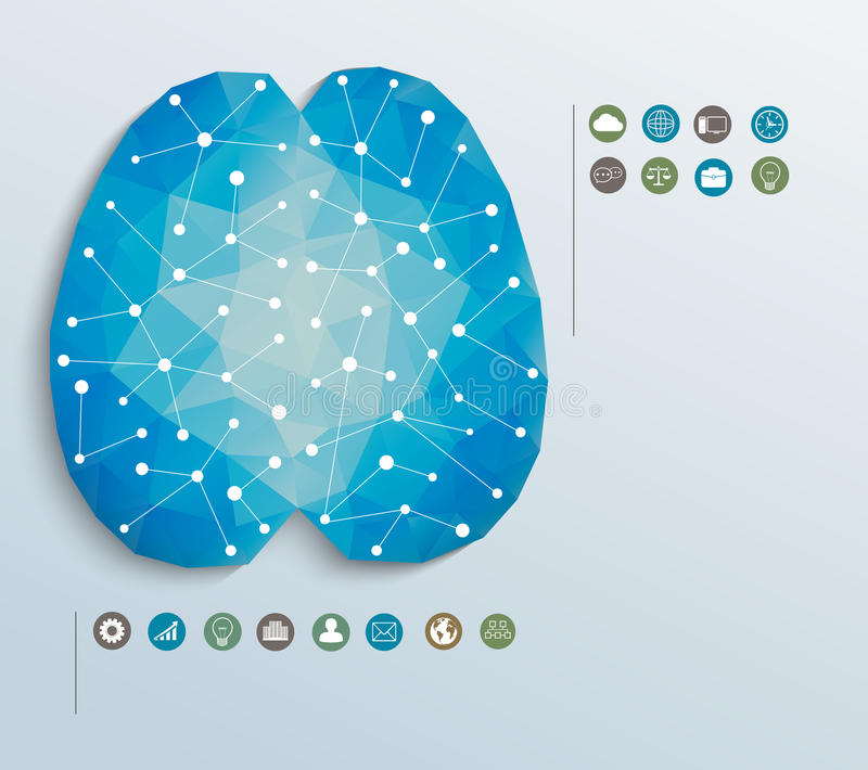 Cerebro con los iconos, infographics del polígono ilustración del vector