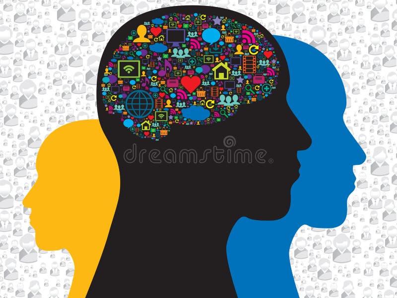 Cerebro con los medios iconos sociales stock de ilustración