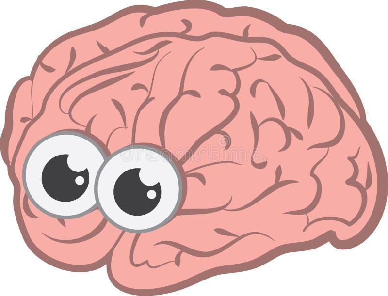 Cerebro con los ojos ilustración del vector