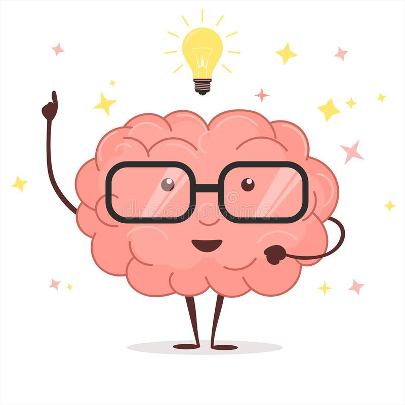 Cerebro con los vidrios y la bombilla de la idea Vector ilustración del vector