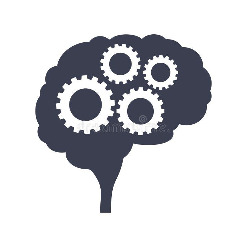 Cerebro con vista lateral de la silueta del negro del engranaje Mente, creatividad y conocimiento libre illustration