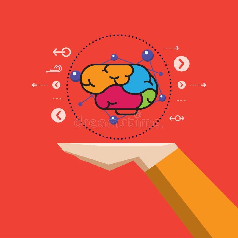 Cerebro creativo concepto a disposición, de la ciencia y de la educación, vector ilustración del vector