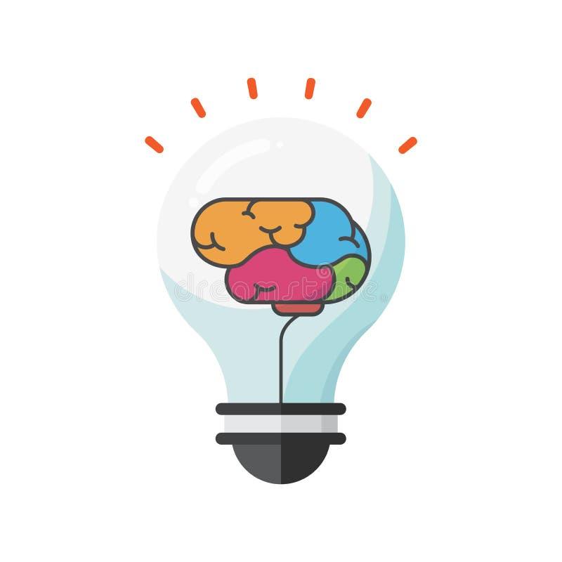 Cerebro creativo de la educación, vector de la muestra del bulbo, concepto de pensamiento de la idea ilustración del vector