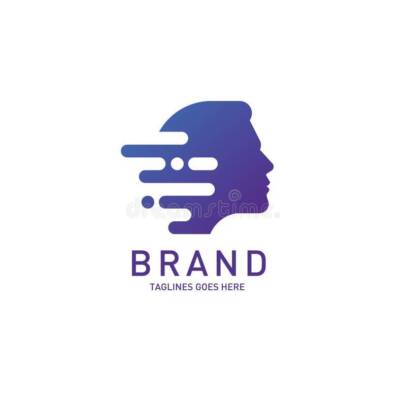 Cerebro creativo del logotipo de la cabeza del hombre stock de ilustración