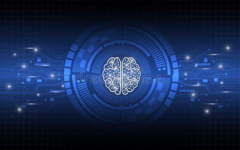 Cerebro creativo que trabaja el fondo digital del extracto del concepto stock de ilustración