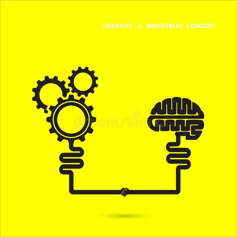 Cerebro creativo y concepto industrial Icono del cerebro y del engranaje cerebro libre illustration