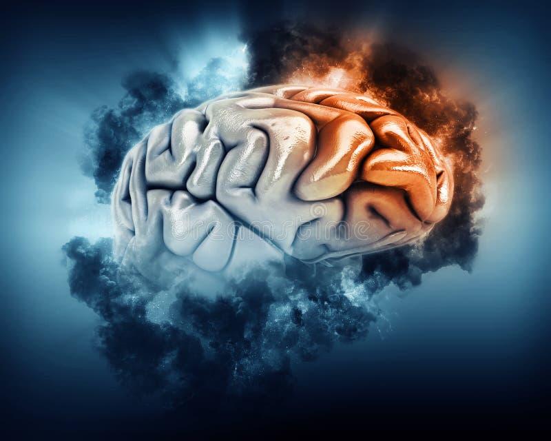 cerebro 3D con las nubes de tormenta y el lóbulo frontal destacados ilustración del vector