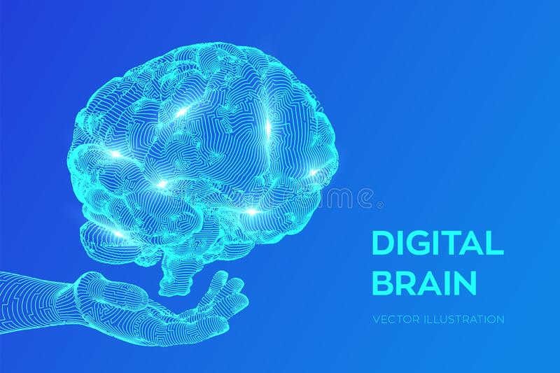 cerebro Cerebro de Digitaces a disposici?n concepto de la ciencia 3D y de la tecnolog?a Red de los nervios Prueba del ?ndice de i ilustración del vector