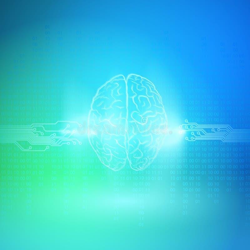 Cerebro de Digitaces en fondo azul Concepto de la inteligencia artificial stock de ilustración