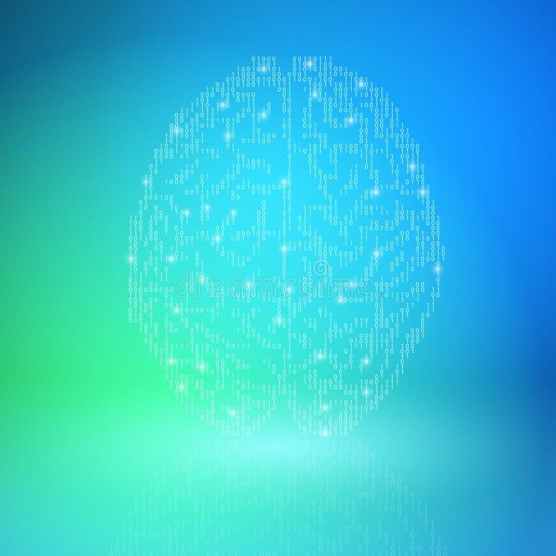 Cerebro de Digitaces en fondo azul Concepto de la inteligencia artificial ilustración del vector