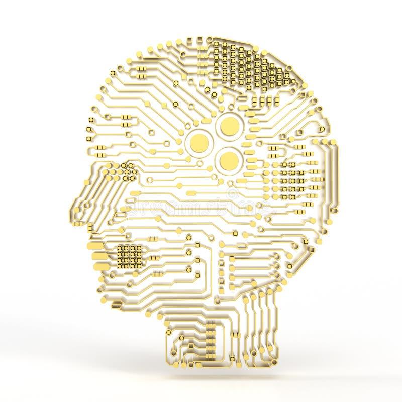 Cerebro de la inteligencia artificial ilustración del vector