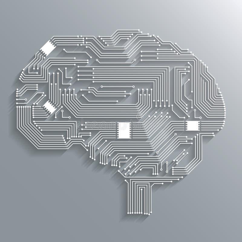 Cerebro de la placa de circuito ilustración del vector