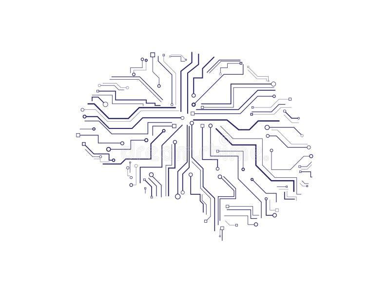 Cerebro de la placa de la impresión stock de ilustración