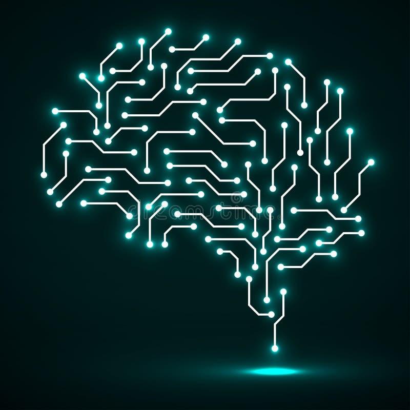 Cerebro de neón tecnológico Tarjeta de circuitos Vector abstracto ilustración del vector