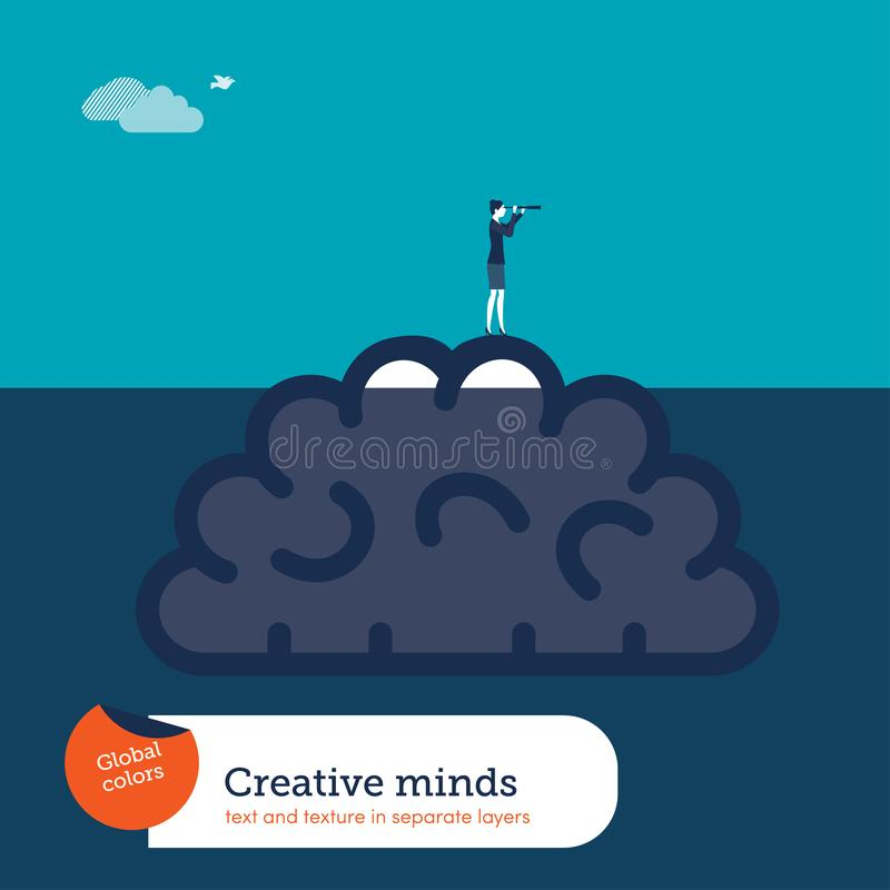 Cerebro debajo del agua y de la empresaria con el catalejo que ayuda con nuevas ideas creativas libre illustration