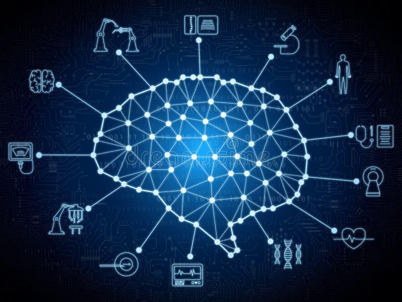 Cerebro del AI con tecnología médica ilustración del vector