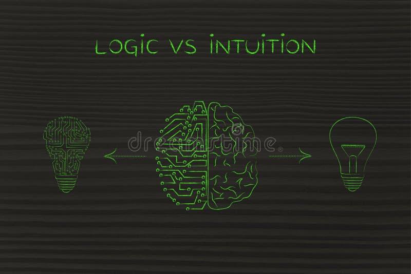 Cerebro del ser humano y del circuito que tiene diversas ideas, lógica contra la intuición stock de ilustración