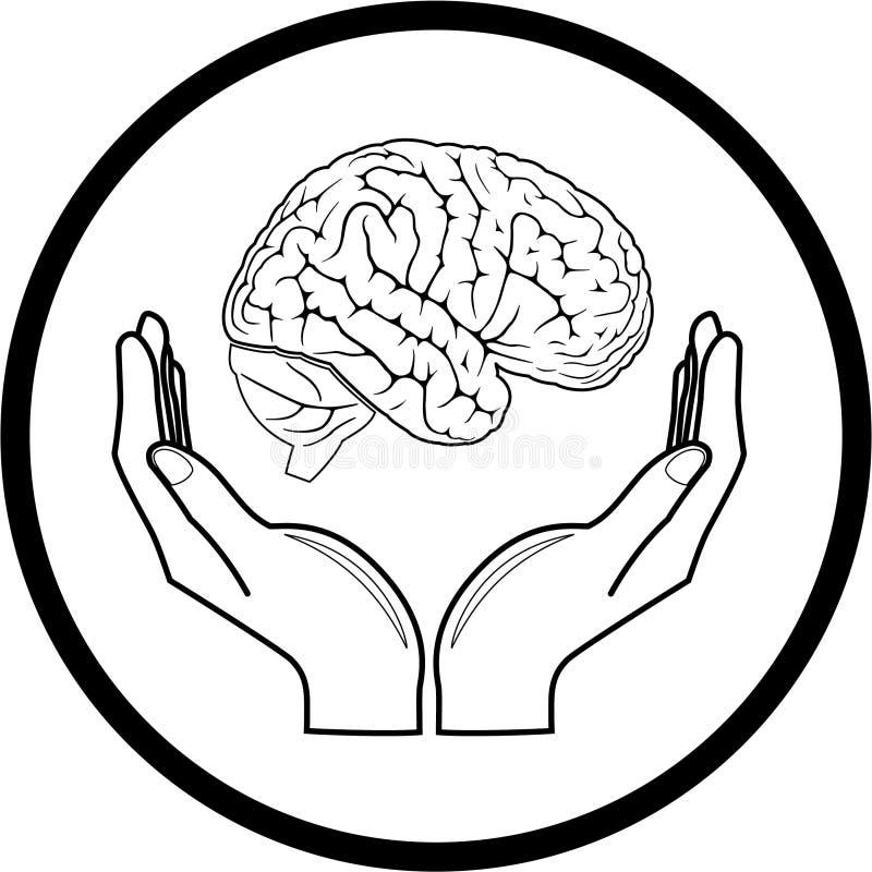Cerebro del vector en icono de las manos stock de ilustración