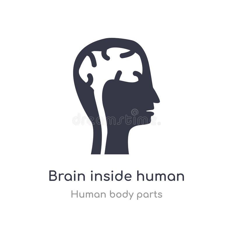 cerebro dentro del icono principal humano del esquema l?nea aislada ejemplo del vector de la colecci?n humana de las partes del c libre illustration