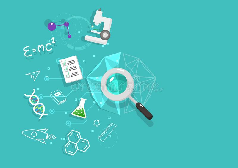 Cerebro derecho, mente que traza, concepto de pensamiento de la ciencia de la lógica, diseño plano y polígono, vector del fondo d stock de ilustración
