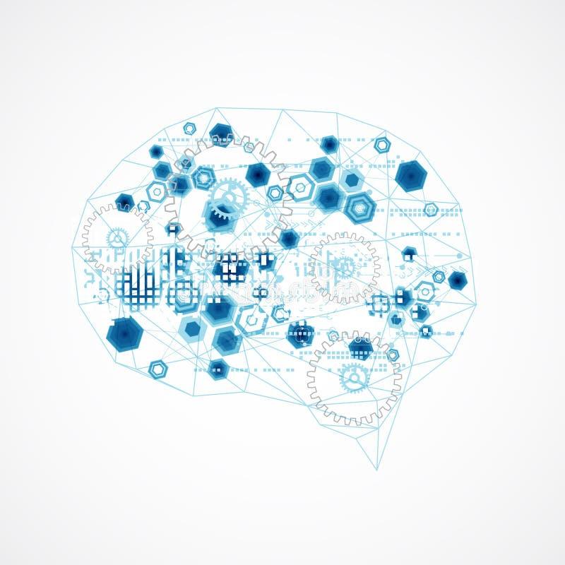 Cerebro digital abstracto, concepto de la tecnología stock de ilustración