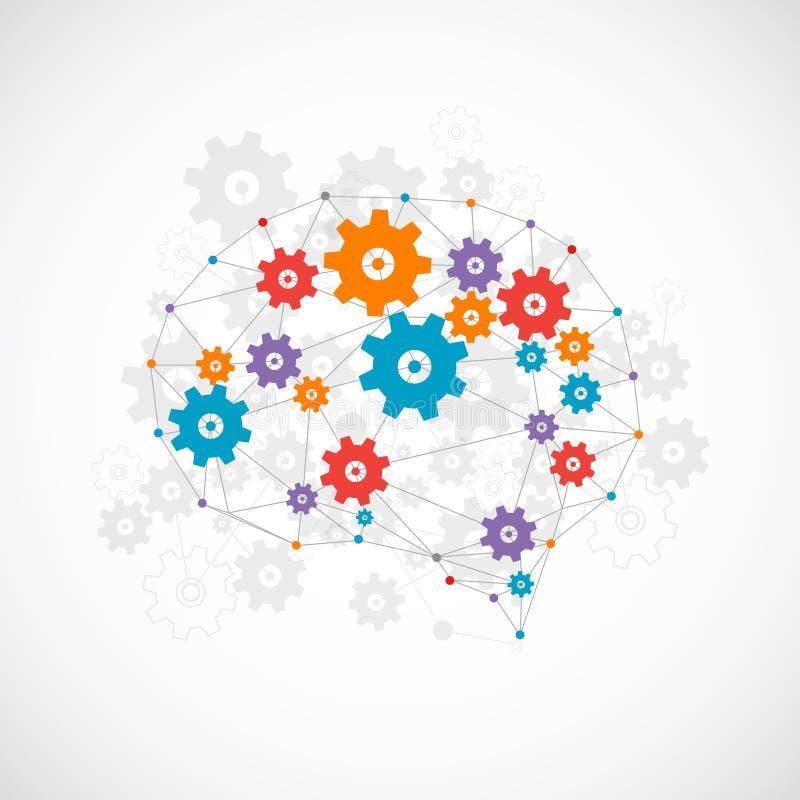 Cerebro digital abstracto, concepto de la tecnología ilustración del vector