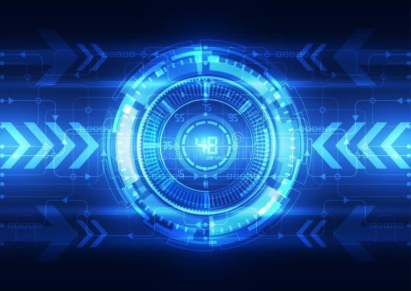 Cerebro digital abstracto del circuito eléctrico, vector del concepto de la tecnología stock de ilustración