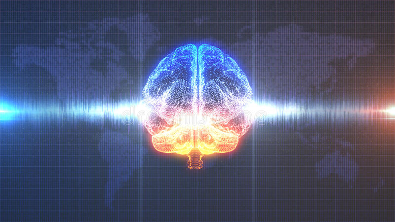 Cerebro digital anaranjado y azul del intercambio de ideas - con la animación de la onda cerebral libre illustration