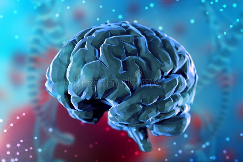 cerebro digital del ejemplo 3d en fondo abstracto Inteligencia artificial y las posibilidades ilimitadas de la mente ilustración del vector