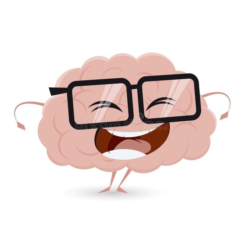 Cerebro divertido con los vidrios del empollón stock de ilustración