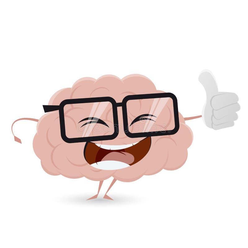 Cerebro divertido de la historieta con los pulgares para arriba ilustración del vector